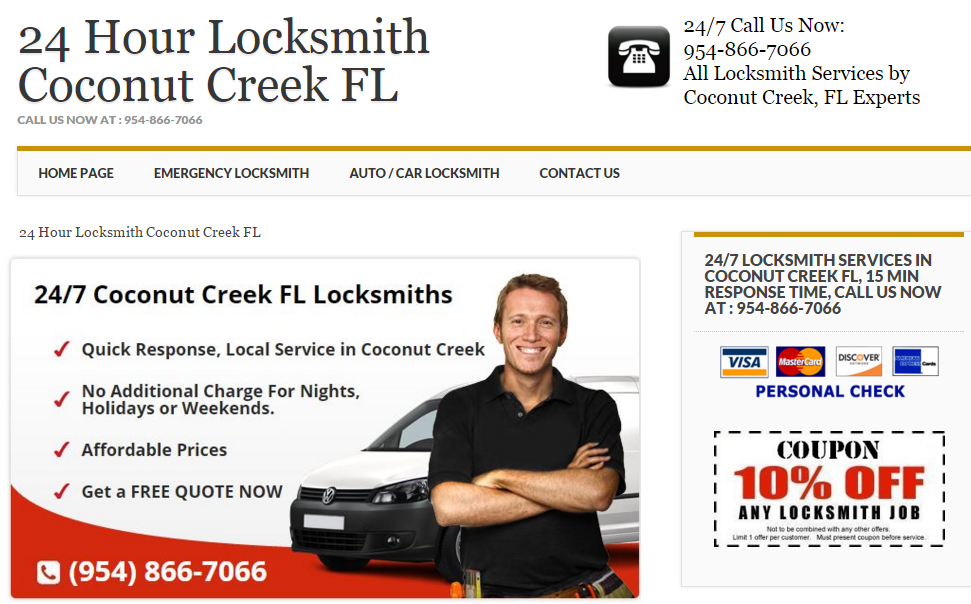 24 Hour Locksmith Coconut Creek Fl